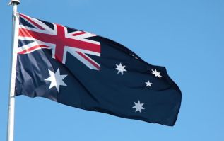 Australian flag waving in the wind